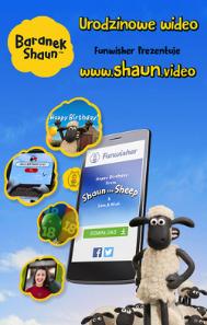 zabawy urodzinowe dla dzieci - personalizowane video Baranek Shaun